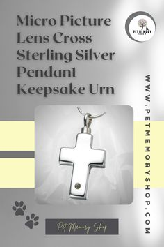 This Micro Picture Lens Cross Sterling Silver Pendant Keepsake has a fillable chamber and a hand-crafted lens. The photo is laser etched onto the lens, inserted into the pendant, and magnified 160 times. It can take up to ten characters for engraving (engraving not included). Pet Memorial Jewelry, Keepsake Urns, Pet Urns, Pet Memorials, Sterling Silver Pendants, Lens, Place Card Holders, Characters, Times
