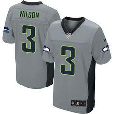 Men's Nike Seattle Seahawks #3 Russell Wilson Elite Grey Shadow NFL Jersey