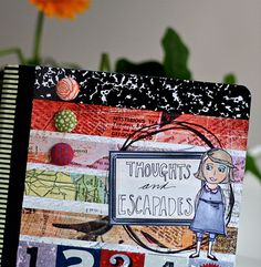 a journal made of a composition book.