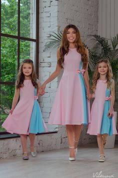 """Mommy, Sis, and I in matching pink and blue dresses. Mommy Daughter Dresses, Mommy And Me Dresses, Mother Daughter Matching Outfits, Mother Daughter Fashion, Stylish Dresses For Girls, Dresses Kids Girl, Couples African Outfits, African Dresses For Kids, Mother Daughter Pictures"