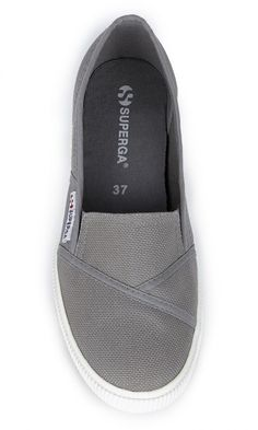 Italian-made, slip-on canvas sneakers with elastic sides and a wide rubber sidewall