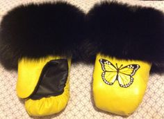 Inuit made women's yellow mitts w/ fur trim by Noella George