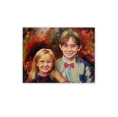 """Portrait Oil Painting - Double Custom Portrait - Wedding Family Child Portraits - Modern Wall Art Gift Idea - Made To Order Painting - 27"""" by ArtSunday on Etsy"""