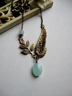 Brass wing necklace blue glass beads brass leaf  by botanicalbird