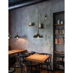 I Feel espresso bar, Kryvyi Rih, 2015 - Azovskiy Pahomova architects Vintage Cafe Design, Industrial Cafe, Industrial Farmhouse, Industrial Stairs, Industrial Apartment, Industrial Shelving, Industrial Style, Industrial Coffee Shop, Industrial Windows