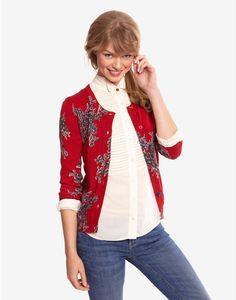 Joules Womens Printed Cardigan, Red.                     Feel like the pick of bunch in this fantastic floral printed cardigan. It will remain a favourite long after the flowers in your garden have departed.