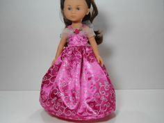 13 inch doll clothes made to fit dolls such as Corolle Les Cheries doll clothes Pink Sparkle Flower Vine Dress, 11-1475 by thesewingshed on Etsy