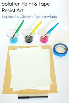 Gather together some paper, painter's tape, paint and a marker and have fun creating splatter art inspired by Disney's Tomorrowland!
