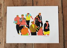 Tokyo four colour linocut print by HannahForwardArt on Etsy, £10.00  #linoprint #tokyo #reliefprint #linocut #city #people #busycity #colourprint #Shibuya #Shibuyacrossing