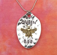 "Queen Bee Necklace, pick 16 to 36"" chain, Honey Bee Bumble Spoon Gold and Silver 