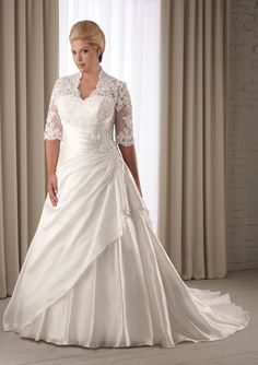 A-Line 1/2 Sleeves Chapel Trailing Satin Plus Size Wedding Dresses