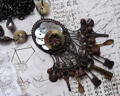 Rusty Black Victorian Frame MOP buttons and Key by MockiDesigns