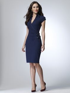 Faux wrap dress with a pencil skirt shape and double buckle... this might move pretty high on my list as a side project for bridesmaid dresses    Cache, $148.00