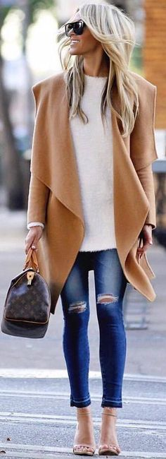 #spring #outfits white sweater, beige coat, ripped jeans, heels