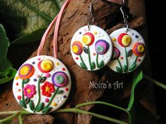 Blooming Garden Summer Day Set of embroidery style polymer clay jewelry by MoirasArt