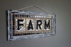 Re-vamped frame features tile,burlap,fabric,and stencil by RusticQueens on Etsy