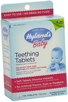 Hyland's Homeopathic Teething Tablets 100% Natural Symptomatic Relief for Teething in Children 135 Tablets:Amazon:Health & Personal Care
