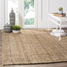 Safavieh Casual Natural Fiber Hand-Woven Natural Accents Chunky Thick Jute Rug (8' Square) - Free Shipping Today - Overstock.com - 13303818 - Mobile