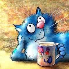 Blue Cats, Realism Art, Copic, Cat Lady, Irene, Childrens Books, Cute Pictures, Images, Cartoon