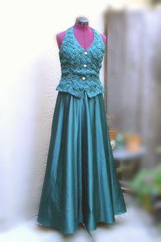Elegant Pine Green Halter Dress Formal Gown Prom by KheGreen
