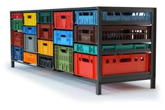 Krattenkast (Crates Cabinet) by Mark van der Gronden. Made from recycled product crates. My Home Design, Home Interior Design, Crate Furniture, Furniture Design, Office Furniture, Home Storage Solutions, Home Projects, Home Remodeling, Locker Storage
