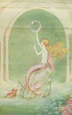 """Illustration from the 1926 book, """"Fairyland of Ida Rentoul Outhwaite"""" - Ida was an Australian artist and illustrator of children's books, known for her magical elves and fairies. Mermaid Illustration, Illustration Art, Art Vampire, Arte Indie, Mermaid Fairy, Manga Mermaid, Images Esthétiques, Elves And Fairies, Mermaids And Mermen"""
