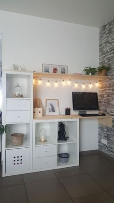 Ikea Kallax Hack Sideboard Woods DIY – interior design ideas - home diy ideas Etagere Kallax Ikea, Ikea Kallax Hack, Home Office Design, Home Office Decor, Diy Home Decor, Office Ideas, Ikea Office, Attic Office, Home Decor Ideas