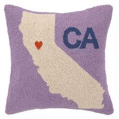 Peking Handicraft My Heart in California Hook Wool Throw Pillow