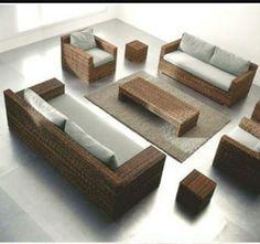 Rattan garden armchair with armrests CROCO 05 By Gervasoni design Paola Navone Interior Design Studio, Modern Interior Design, Contemporary Furniture, Luxury Furniture, Outdoor Furniture, Rattan Sofa, Wooden Sofa, 2 Seater Sofa, Recycled Furniture