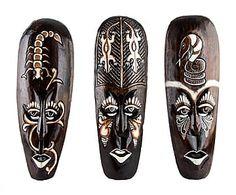 Set de 3 máscaras de madera Tribal