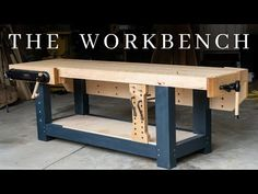 The PERFECT Woodworking Workbench // How To Build The Ultimate Hybrid Workholding Bench – Methods Collector Building A Workbench, Workbench Plans, Woodworking Workbench, Woodworking Shop, Woodworking Basics, Woodworking Projects, Youtube Woodworking, Wooden Hinges, Homemade Tables
