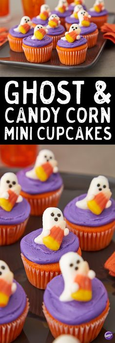 Ghost and Candy Corn Mini Cupcakes - Who doesn't love a two-bite cupcake? These tiny treats are adorable and easy to make using the Wilton Royal Icing Ghost and Candy Corn decorations and the Wilton Mega Mini Muffin Pan. Great for Halloween party ideas, school functions or any time you need mini cupcakes that makes a huge impact for fun!