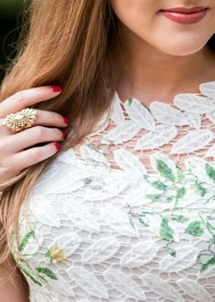 White and floral lace dress, Maybelline Color Jolt Lip Paint in Stripped Down , Banana Republic gold cocktail ring, and OPI Madam President nail polish | Fashion blogger Ashley Brooke Nicholas