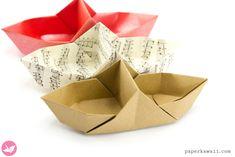 Origami Basket Boat Tutorial - Divided Basket - Paper Kawaii
