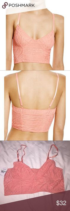 Free People Intimately Lace Crop Bra Beautiful pink salmon laced bralette. How can you not love free people, lace, and in pink?! Brand new, never worn and with tags! Free People Intimates & Sleepwear Bras