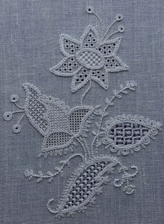 Schwalm Whitework by Jane D. Zimmerman - This project expl Embroidery Thread, Embroidery Designs, Drawn Thread, Thread Painting, Brazilian Embroidery, Linen Tablecloth, Cutwork, Bobbin Lace, Chicken Scratch
