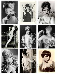 Digital Collage Sheet of Vintage Photos of Louise Brooks and Clara Bow Flappers Roaring 20's at www.monbonbon.etsy.com
