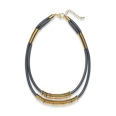 PU Layered Gold Alloy Statement Necklace EverMarker ($14) ❤ liked on Polyvore featuring jewelry and necklaces