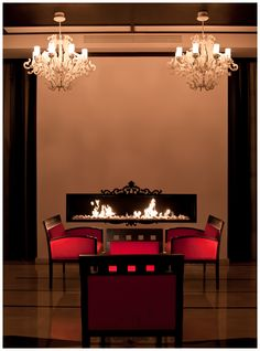 A good book and a cup of wine are the perfect companions in Epoque lounge Chandelier, Lounge, Ceiling Lights, Fireplace Design, Contemporary, Architecture, Inspiration, Wine, Book