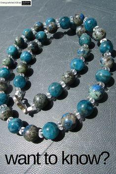 * K2 STONE Azurit in Granit APATIT Apatite KETTE Necklace *erkenntnisfördernd* Beaded Bracelets, Necklaces, Healing, Gemstones, Ebay, Jewelry, Granite, Chain, Jewels