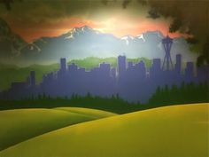 Worlds of Wow - this wall mural includes the Seattle skyline on a children's hallway wall as part of the overall theme. Overlake Church is near Seattle and has an entire wing themed just for kids! Worlds Of Wow, Sunday School Rooms, Wall Murals, Wall Art, Skyline Painting, Kids Ministry, Ministry Ideas, Christian Church, Kids Church
