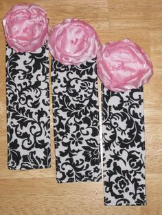 Fabric Bookmark  Black and White Damask with a Satin by margip00