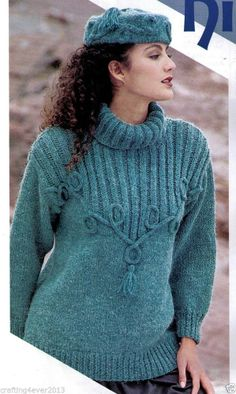 WOMEN'S CABLE RIBBED ROLLED NECK AND TASSELS SWEATER & HAT 8PLY KNITTING PATTERN