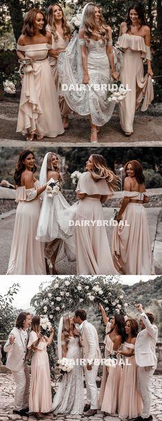 Cheap Mismatched Chiffon Bridesmaid Dress, Backless Floor-Length A-Line Bridesmaid Dress, D1043 #bridesmaiddress