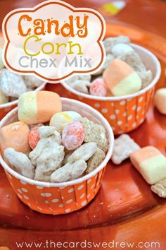 Candy Corn Chex Mix -cute and easy Halloween snack!