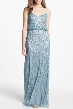 ADRIANNA PAPELL Beaded Art Deco Blouson Gown Blue Gatsby $65