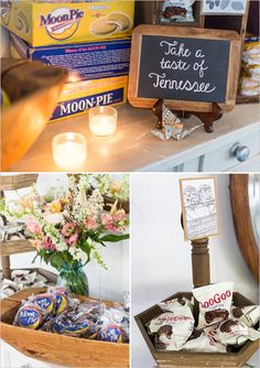 Share the sweetness of Tennessee. #ForeverLoveGburg | custom candy bar complete with moon pies and goo goo clusters