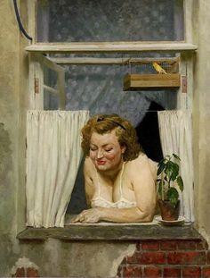 Geliy Korzhev My neighbor from across the street, 1954 Paintings I Love, Beautiful Paintings, Figure Painting, Painting & Drawing, Socialist Realism, Soviet Art, Window Art, Art Graphique, Russian Art