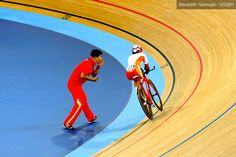 China's Sini Zeng cheered on by her coach - London 2012 Paralympic Games
