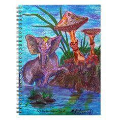 Elephant Mushroom Fairy Dream Journal Notebook - animal gift ideas animals and pets diy customize